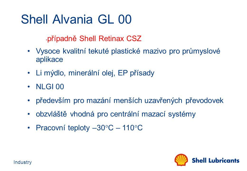 Industry Shell Alvania GL 00 - případně Shell Retinax CSZ Vysoce kvalitní tekuté plastické mazivo pro průmyslové aplikace Li mýdlo, minerální olej, EP
