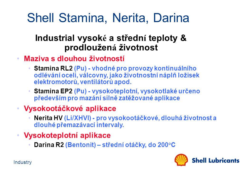 Industry Industrial vysok é a středn í teploty & prodloužen á životnost Maziva s dlouhou životností Stamina RL2 (Pu) - vhodné pro provozy kontinuálníh