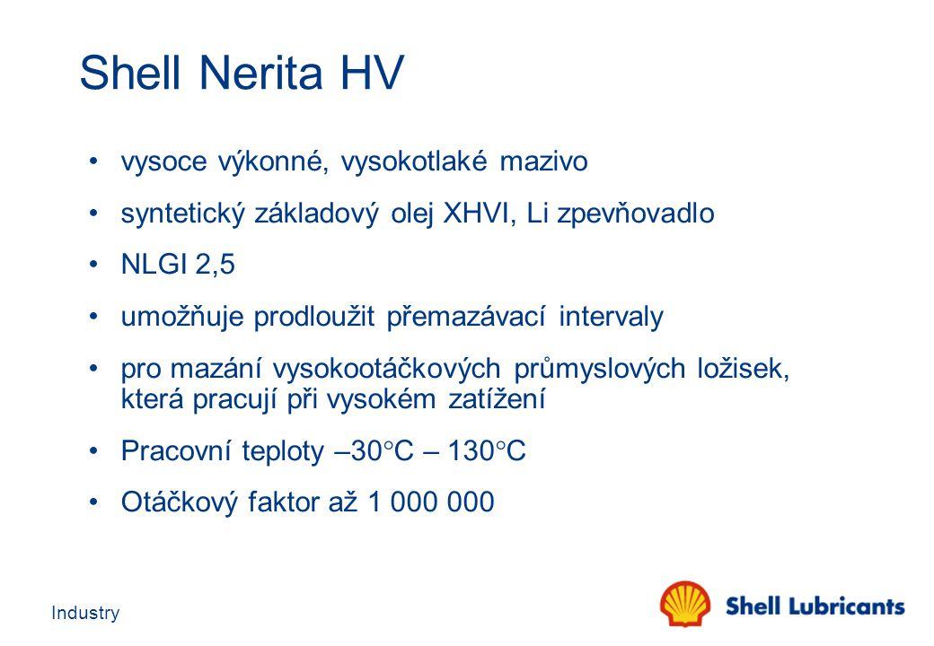 Industry Shell Nerita HV vysoce výkonné, vysokotlaké mazivo syntetický základový olej XHVI, Li zpevňovadlo NLGI 2,5 umožňuje prodloužit přemazávací in