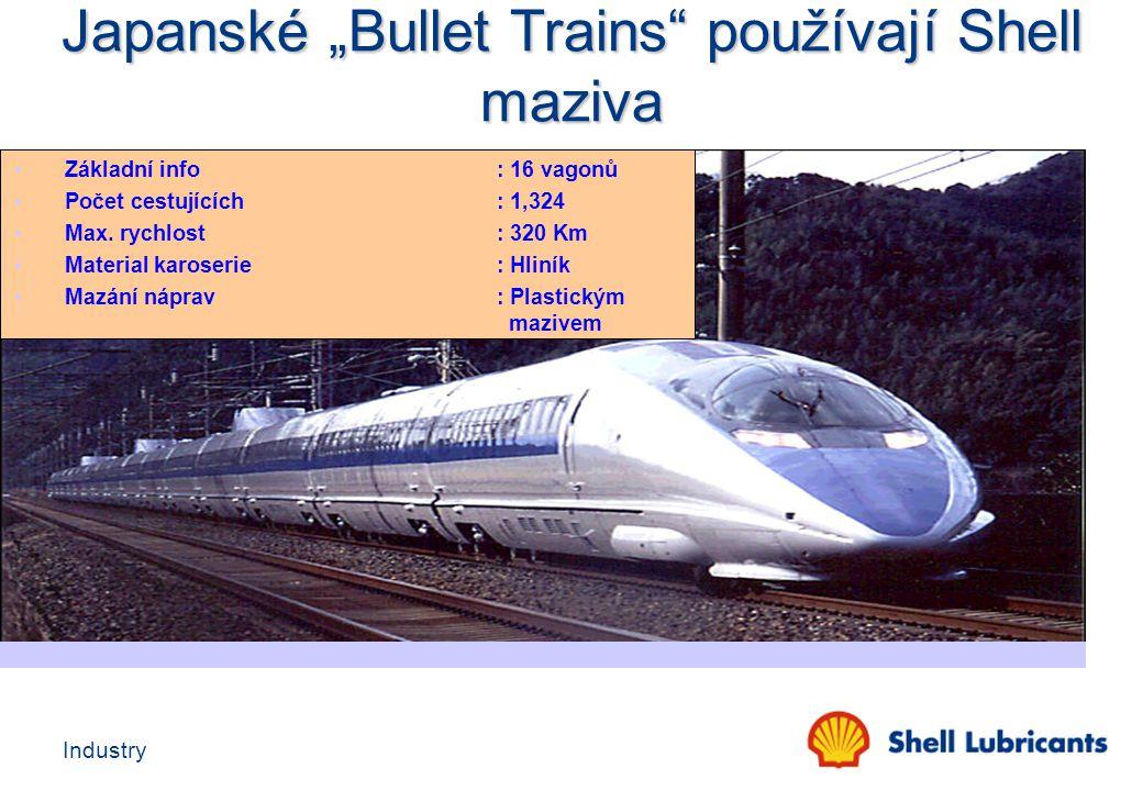 Industry Základní info: 16 vagonů Počet cestujících: 1,324 Max. rychlost : 320 Km Material karoserie : Hliník Mazání náprav: Plastickým mazivem Japans
