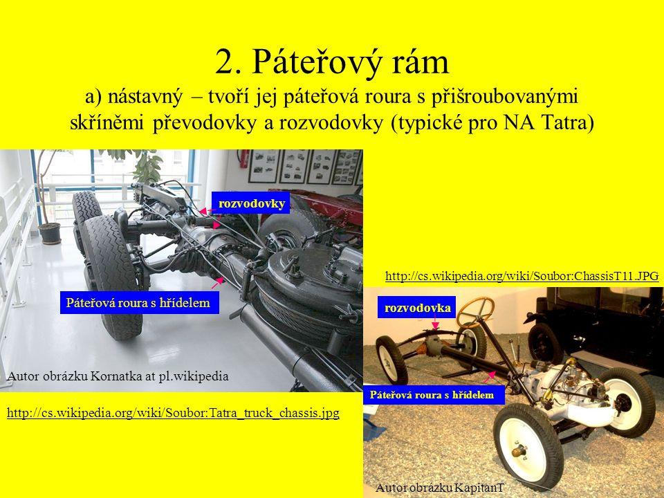 2. Páteřový rám a) nástavný – tvoří jej páteřová roura s přišroubovanými skříněmi převodovky a rozvodovky (typické pro NA Tatra) http://cs.wikipedia.o