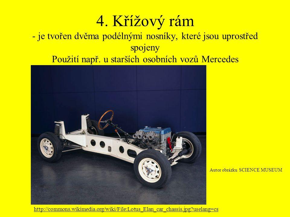4. Křížový rám - je tvořen dvěma podélnými nosníky, které jsou uprostřed spojeny Použití např. u starších osobních vozů Mercedes Autor obrázku SCIENCE