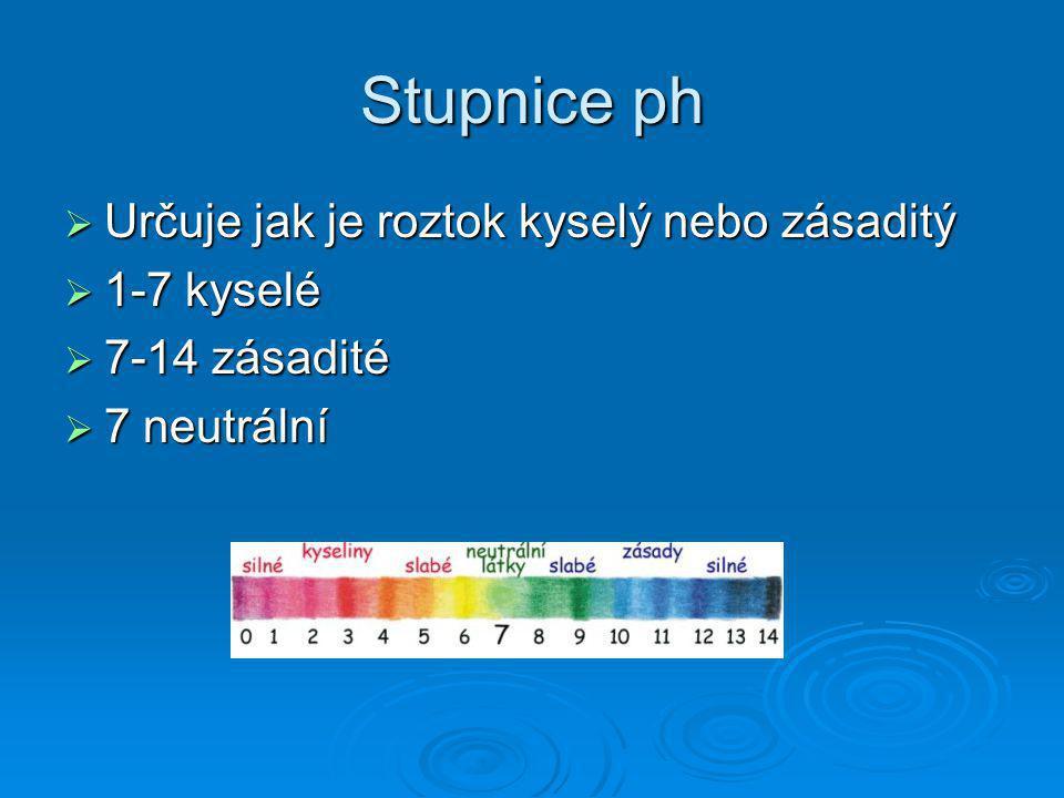 Stupnice ph  Určuje jak je roztok kyselý nebo zásaditý  1-7 kyselé  7-14 zásadité  7 neutrální