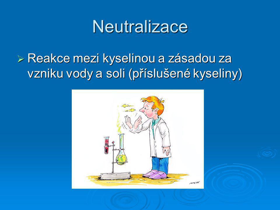 Neutralizace  Reakce mezi kyselinou a zásadou za vzniku vody a soli (příslušené kyseliny)