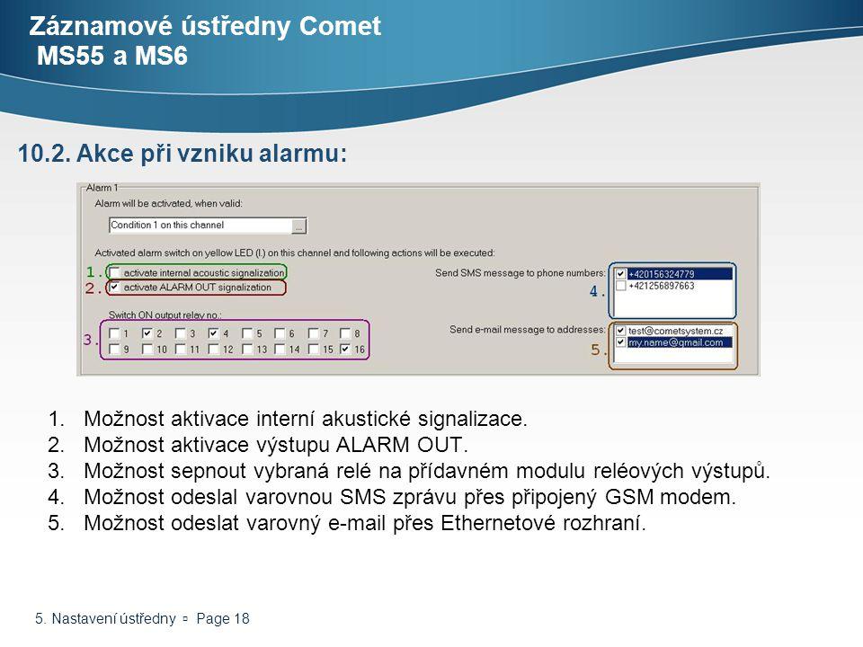 5. Nastavení ústředny  Page 18 Záznamové ústředny Comet MS55 a MS6 1.Možnost aktivace interní akustické signalizace. 2.Možnost aktivace výstupu ALARM