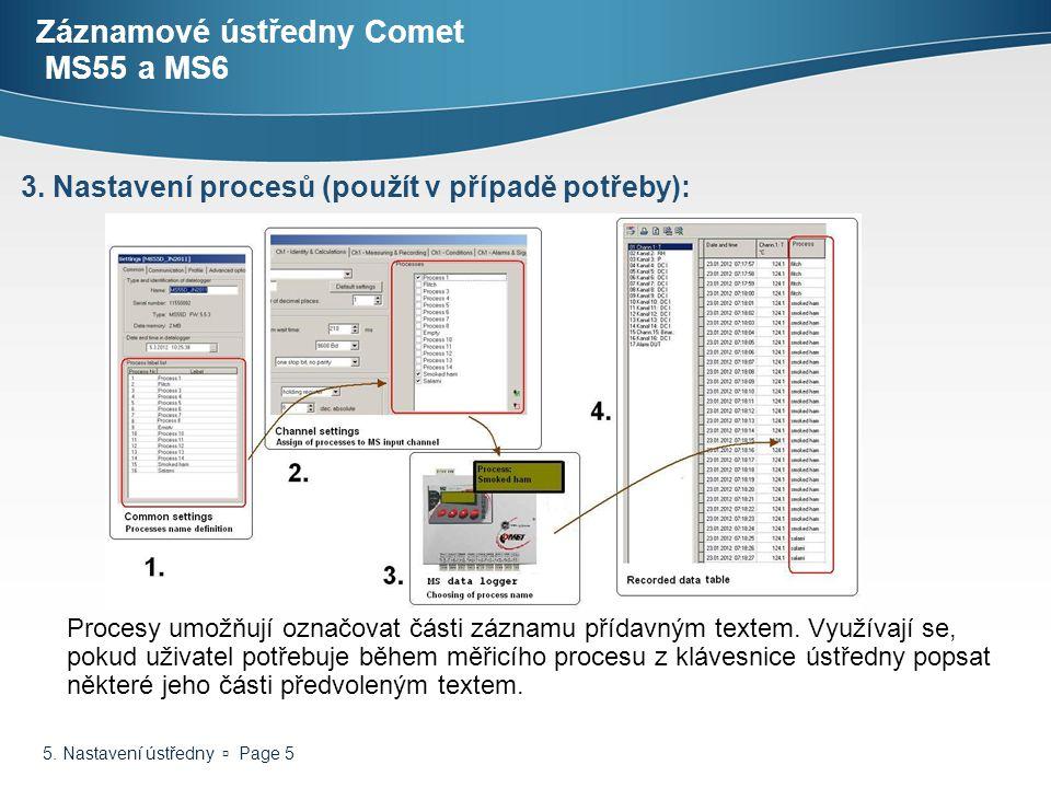 5. Nastavení ústředny  Page 5 Záznamové ústředny Comet MS55 a MS6 Procesy umožňují označovat části záznamu přídavným textem. Využívají se, pokud uživ