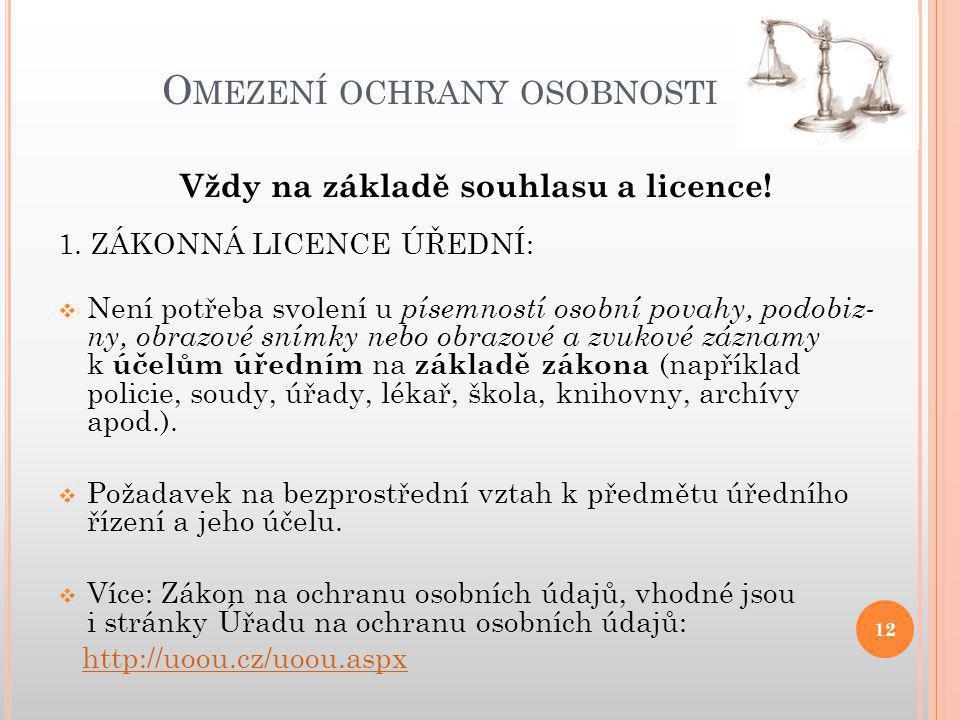 O MEZENÍ OCHRANY OSOBNOSTI 12 Vždy na základě souhlasu a licence.