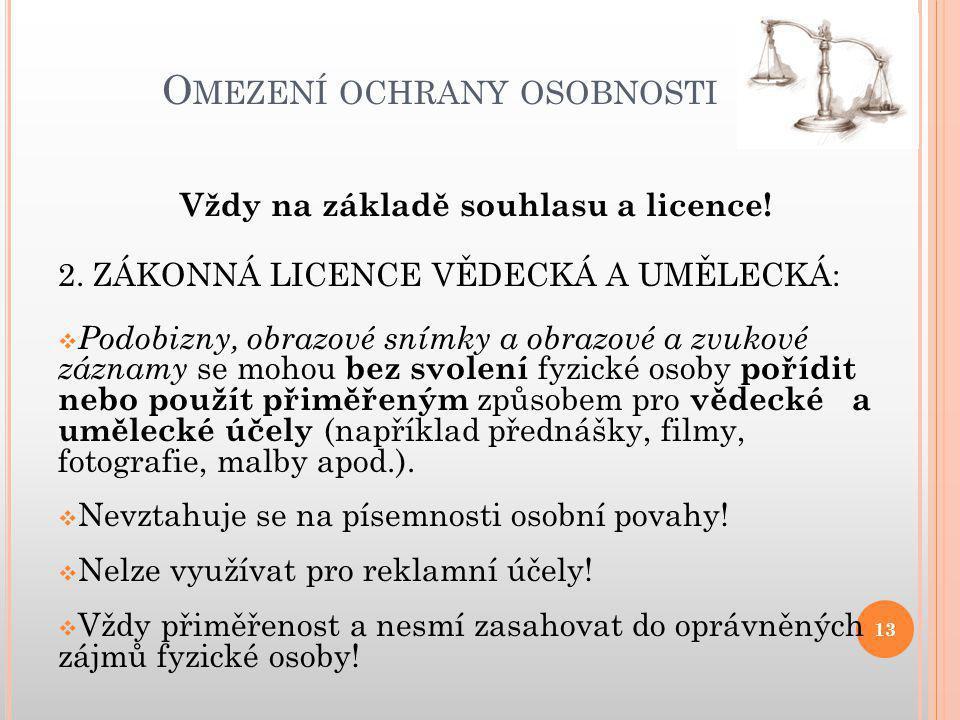 O MEZENÍ OCHRANY OSOBNOSTI 13 Vždy na základě souhlasu a licence.