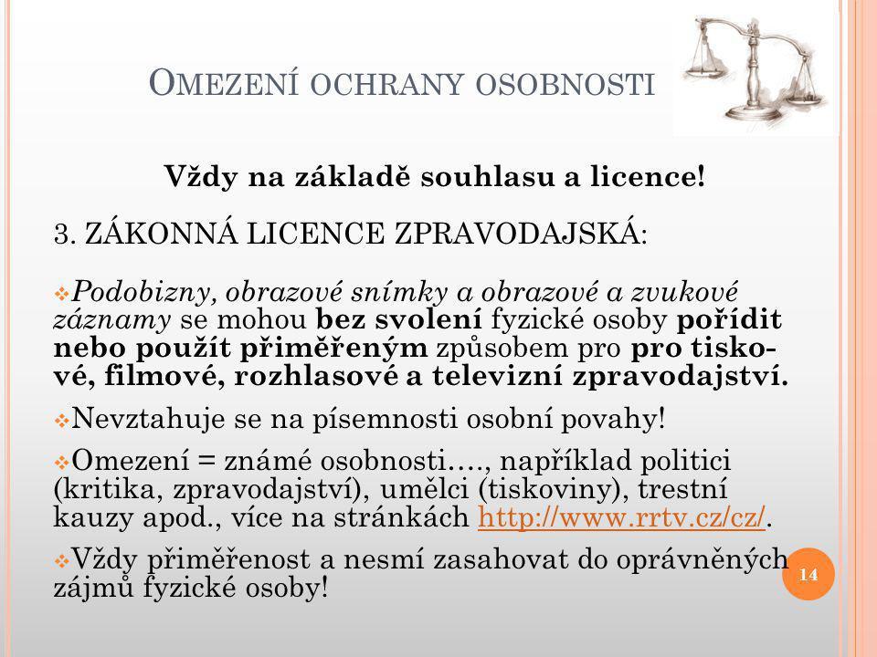 O MEZENÍ OCHRANY OSOBNOSTI 14 Vždy na základě souhlasu a licence.