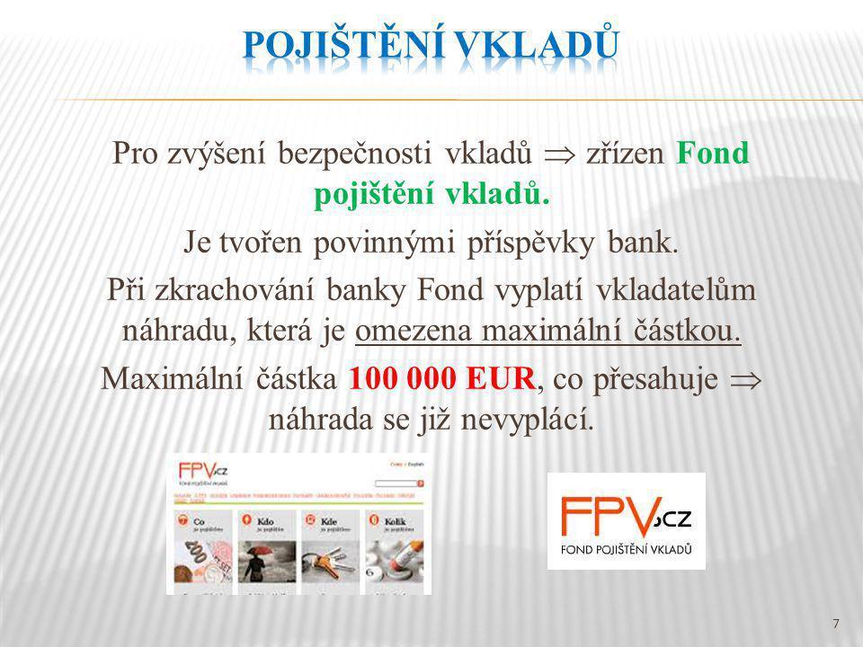 Pro zvýšení bezpečnosti vkladů  zřízen Fond pojištění vkladů.