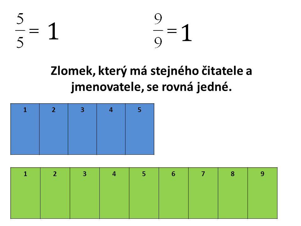 1 1 Zlomek, který má stejného čitatele a jmenovatele, se rovná jedné.