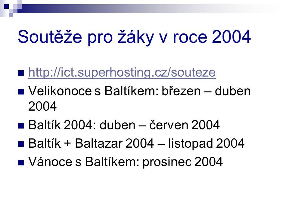 Soutěže pro žáky v roce 2004 http://ict.superhosting.cz/souteze Velikonoce s Baltíkem: březen – duben 2004 Baltík 2004: duben – červen 2004 Baltík + Baltazar 2004 – listopad 2004 Vánoce s Baltíkem: prosinec 2004