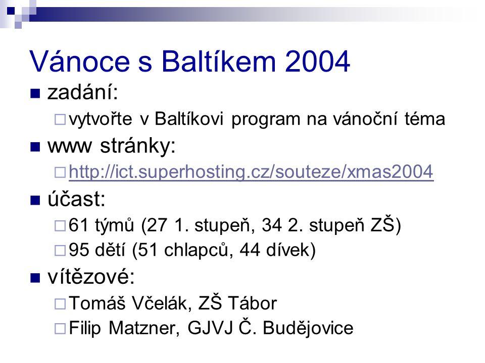 Vánoce s Baltíkem 2004 zadání:  vytvořte v Baltíkovi program na vánoční téma www stránky:  http://ict.superhosting.cz/souteze/xmas2004 http://ict.superhosting.cz/souteze/xmas2004 účast:  61 týmů (27 1.