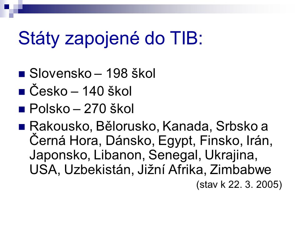 Státy zapojené do TIB: Slovensko – 198 škol Česko – 140 škol Polsko – 270 škol Rakousko, Bělorusko, Kanada, Srbsko a Černá Hora, Dánsko, Egypt, Finsko, Irán, Japonsko, Libanon, Senegal, Ukrajina, USA, Uzbekistán, Jižní Afrika, Zimbabwe (stav k 22.