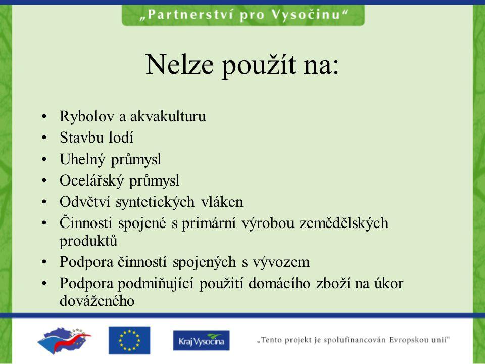 Regionální mapa podpory Do 31.12.2006 pro region Jihovýchod (Vysočina a Jihomoravský kraj) 48% Od 1.1.2007 pro region Jihovýchod 40%