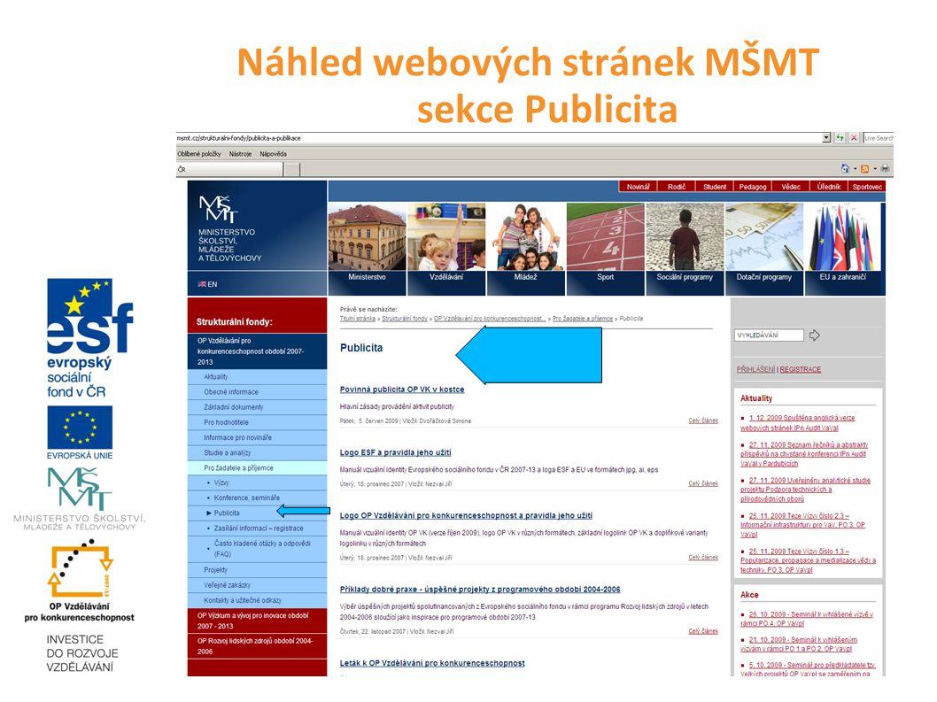 Náhled webových stránek MŠMT sekce Publicita