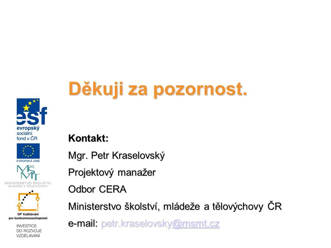 Děkuji za pozornost. Kontakt: Mgr. Petr Kraselovský Projektový manažer Odbor CERA Ministerstvo školství, mládeže a tělovýchovy ČR e-mail: petr.kraselo