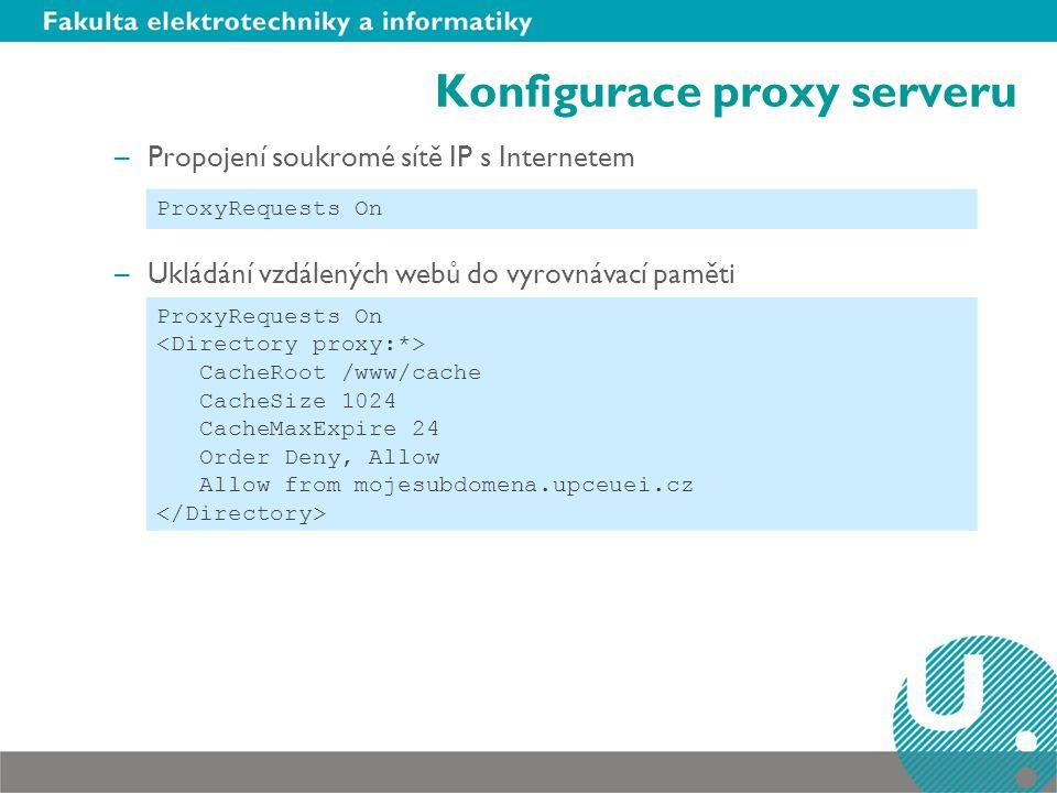 Konfigurace proxy serveru –Propojení soukromé sítě IP s Internetem –Ukládání vzdálených webů do vyrovnávací paměti ProxyRequests On CacheRoot /www/cac