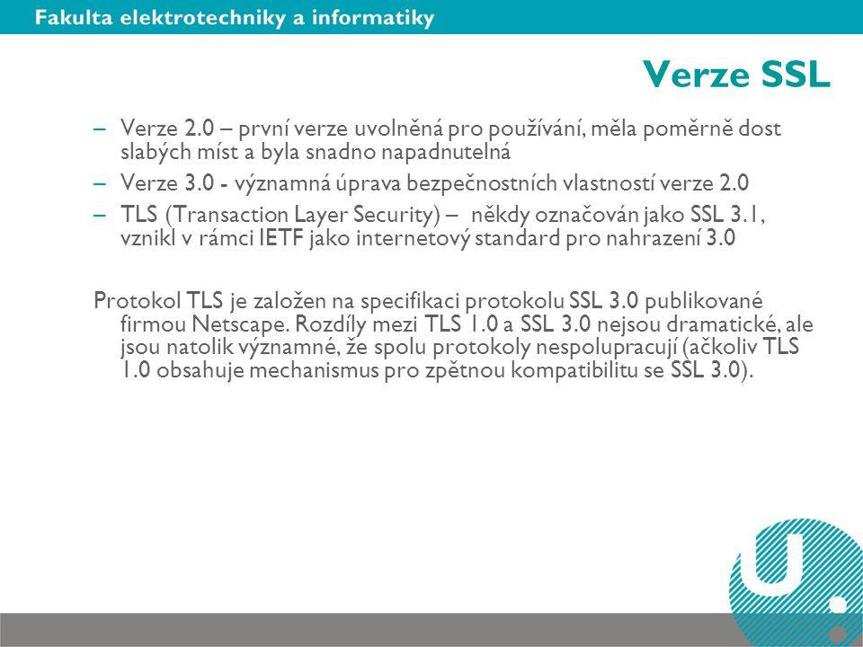 Verze SSL –Verze 2.0 – první verze uvolněná pro používání, měla poměrně dost slabých míst a byla snadno napadnutelná –Verze 3.0 - významná úprava bezp