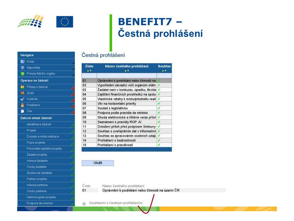 BENEFIT7 – Čestná prohlášení