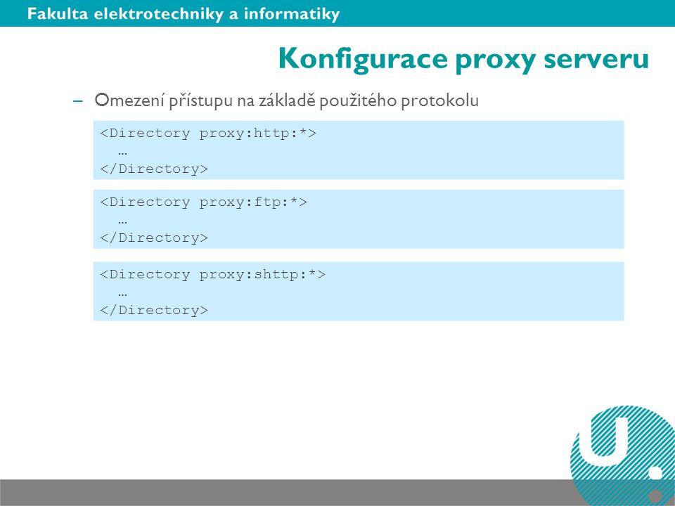 Konfigurace proxy serveru –Zrcadlení webového serveru ProxyPass /mirror/apache www.apache.org/ CacheRoot /www/cache CacheDefaultExpire 24