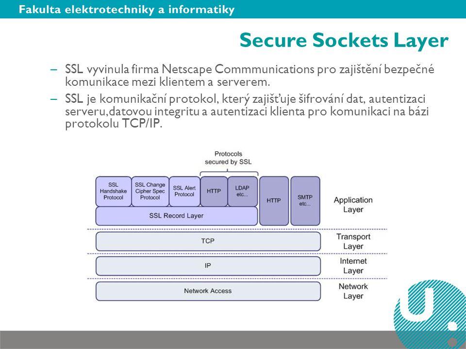 Verze SSL –Verze 2.0 – první verze uvolněná pro používání, měla poměrně dost slabých míst a byla snadno napadnutelná –Verze 3.0 - významná úprava bezpečnostních vlastností verze 2.0 –TLS (Transaction Layer Security) – někdy označován jako SSL 3.1, vznikl v rámci IETF jako internetový standard pro nahrazení 3.0 Protokol TLS je založen na specifikaci protokolu SSL 3.0 publikované firmou Netscape.