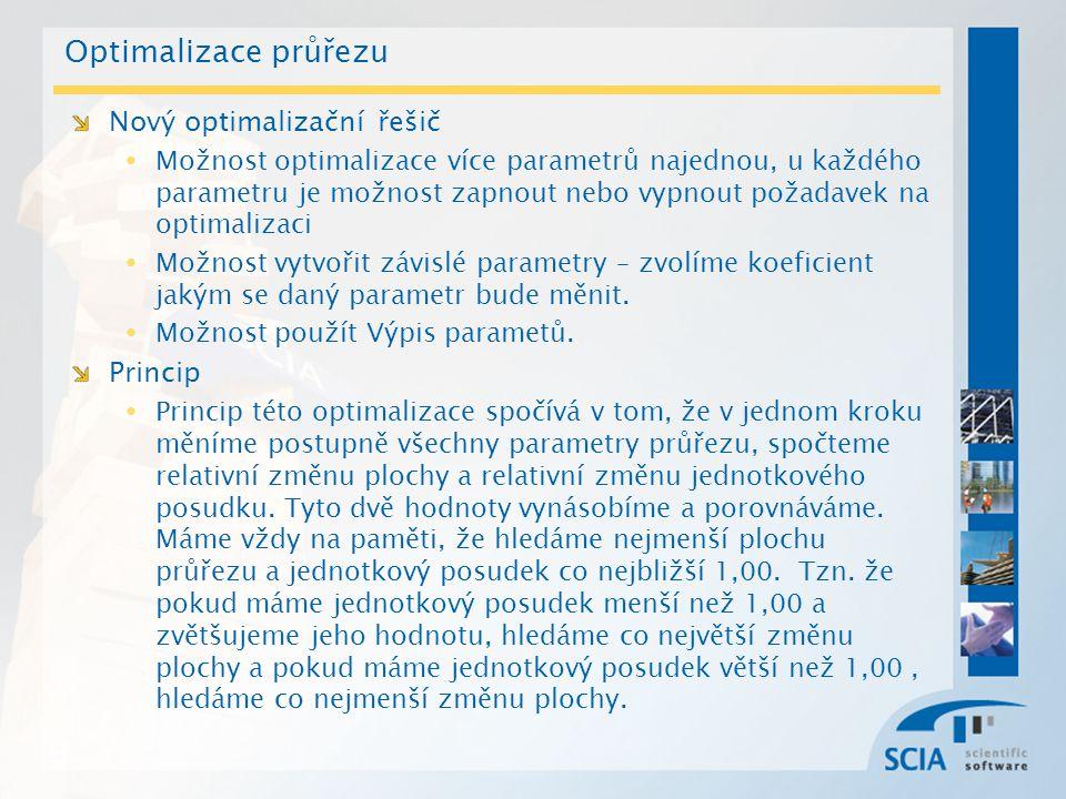 Optimalizace průřezu Nový optimalizační řešič Možnost optimalizace více parametrů najednou, u každého parametru je možnost zapnout nebo vypnout požada