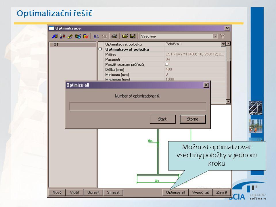 Optimalizační řešič Možnost optimalizovat všechny položky v jednom kroku