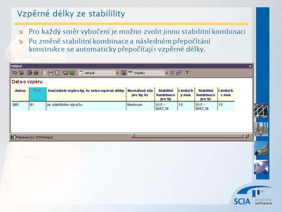 Vzpěrné délky ze stabilility Pro každý směr vybočení je možno zvolit jinou stabilitní kombinaci Po změně stabilitní kombinace a následném přepočítání