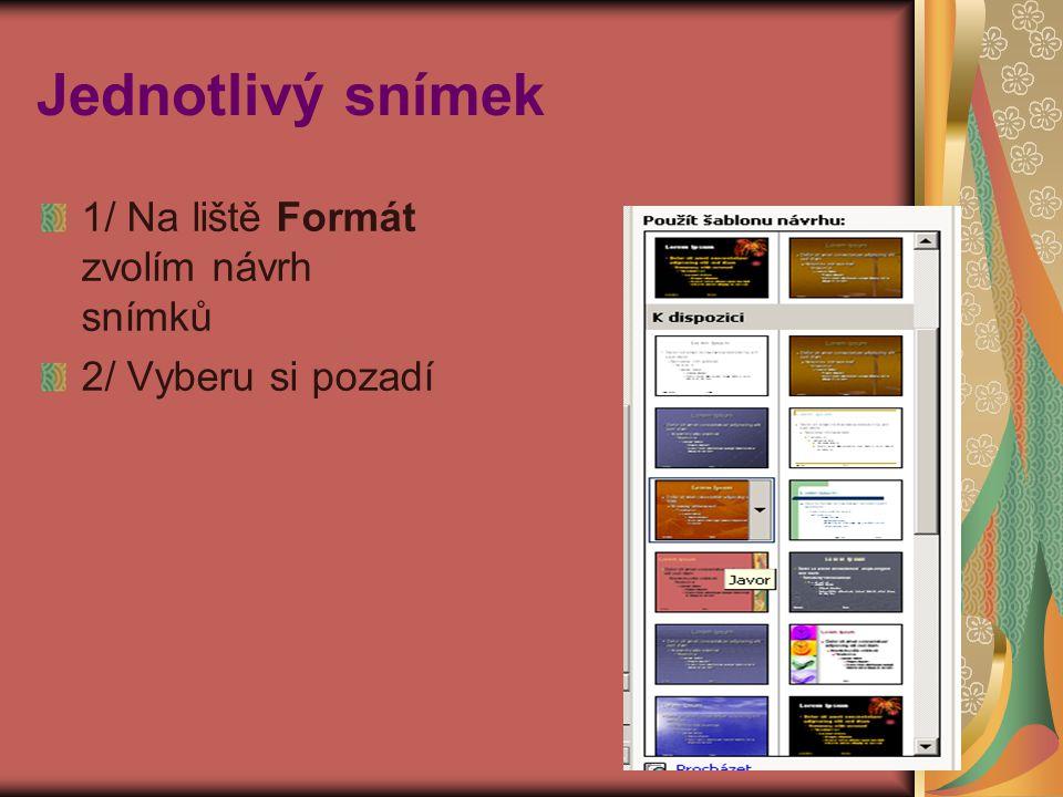 Jednotlivý snímek 1/ Na liště Formát zvolím návrh snímků 2/ Vyberu si pozadí