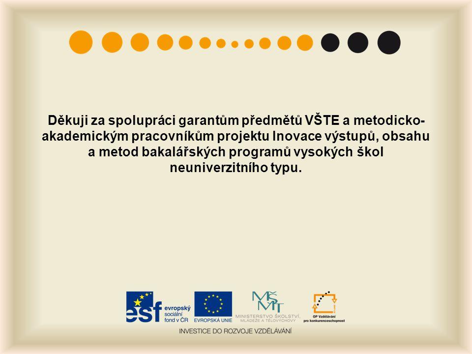 Děkuji za spolupráci garantům předmětů VŠTE a metodicko- akademickým pracovníkům projektu Inovace výstupů, obsahu a metod bakalářských programů vysoký