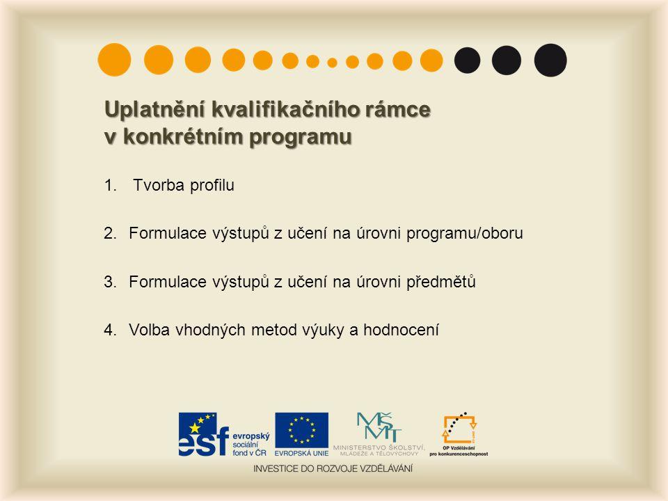 Uplatnění kvalifikačního rámce v konkrétním programu 1. Tvorba profilu 2.Formulace výstupů z učení na úrovni programu/oboru 3. Formulace výstupů z uče