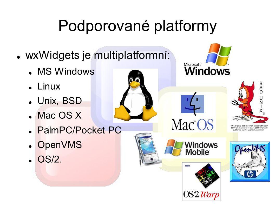 Podporované platformy wxWidgets je multiplatformní: MS Windows Linux Unix, BSD Mac OS X PalmPC/Pocket PC OpenVMS OS/2.
