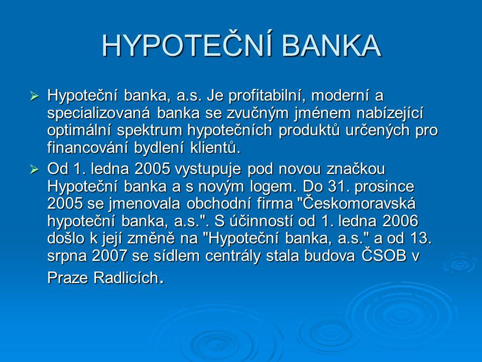 HYPOTEČNÍ BANKA  Hypoteční banka, a.s. Je profitabilní, moderní a specializovaná banka se zvučným jménem nabízející optimální spektrum hypotečních pr