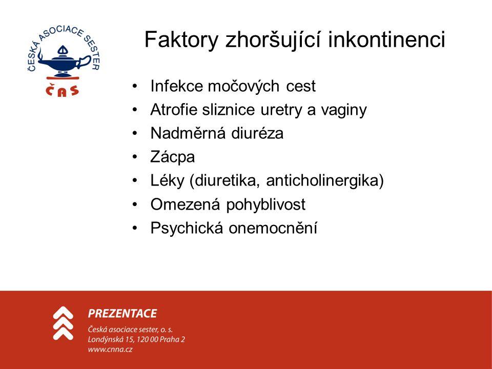 Faktory zhoršující inkontinenci Infekce močových cest Atrofie sliznice uretry a vaginy Nadměrná diuréza Zácpa Léky (diuretika, anticholinergika) Omeze