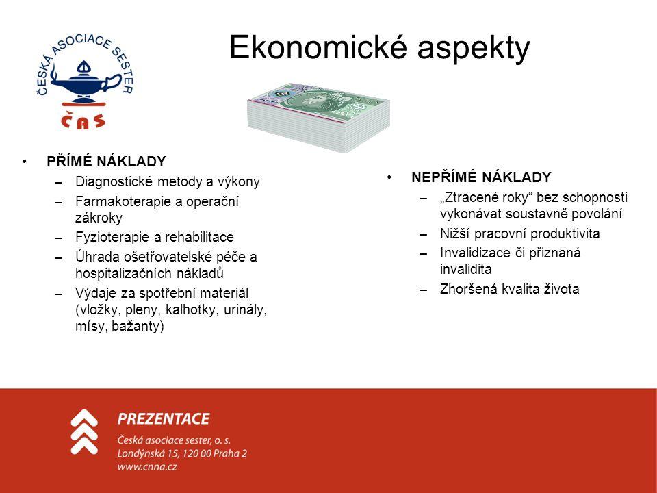 Ekonomické aspekty PŘÍMÉ NÁKLADY –Diagnostické metody a výkony –Farmakoterapie a operační zákroky –Fyzioterapie a rehabilitace –Úhrada ošetřovatelské