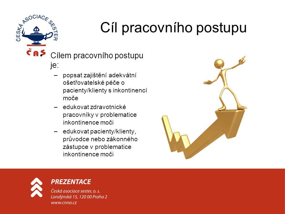 Cíl pracovního postupu Cílem pracovního postupu je: –popsat zajištění adekvátní ošetřovatelské péče o pacienty/klienty s inkontinencí moče –edukovat z