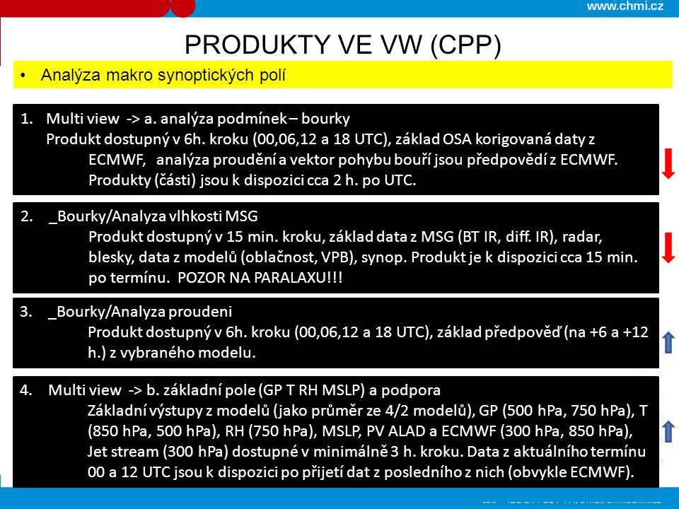 PRODUKTY VE VW (CPP) Analýza makro synoptických polí 1.Multi view -> a. analýza podmínek – bourky Produkt dostupný v 6h. kroku (00,06,12 a 18 UTC), zá