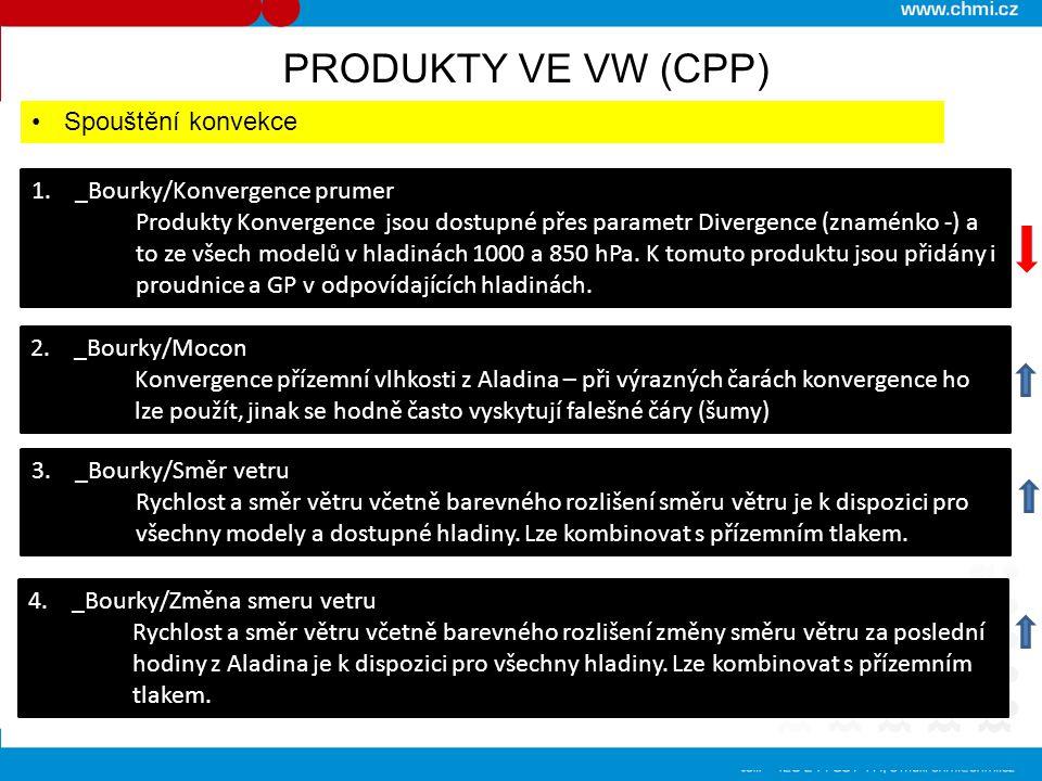 PRODUKTY VE VW (CPP) Spouštění konvekce 1. _Bourky/Konvergence prumer Produkty Konvergence jsou dostupné přes parametr Divergence (znaménko -) a to ze