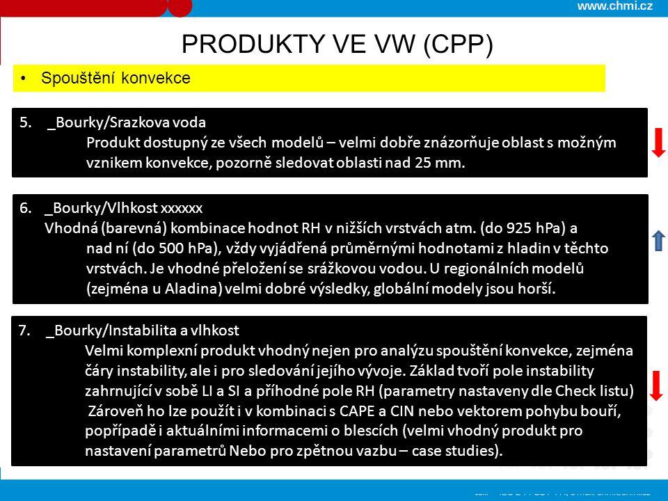 5. _Bourky/Srazkova voda Produkt dostupný ze všech modelů – velmi dobře znázorňuje oblast s možným vznikem konvekce, pozorně sledovat oblasti nad 25 m