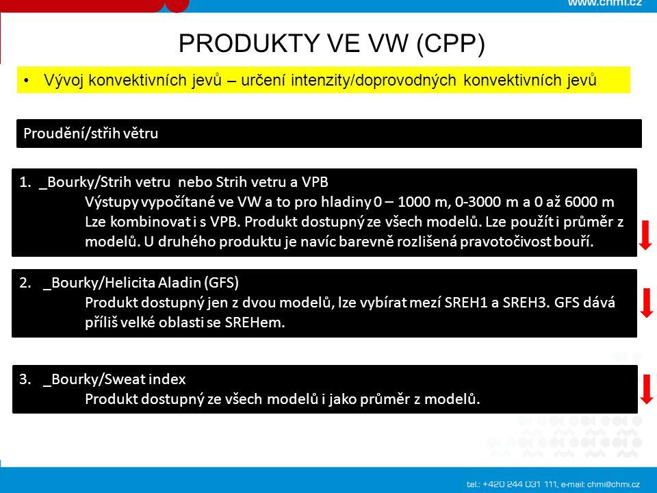 PRODUKTY VE VW (CPP) Vývoj konvektivních jevů – určení intenzity/doprovodných konvektivních jevů Proudění/střih větru 1. _Bourky/Strih vetru nebo Stri