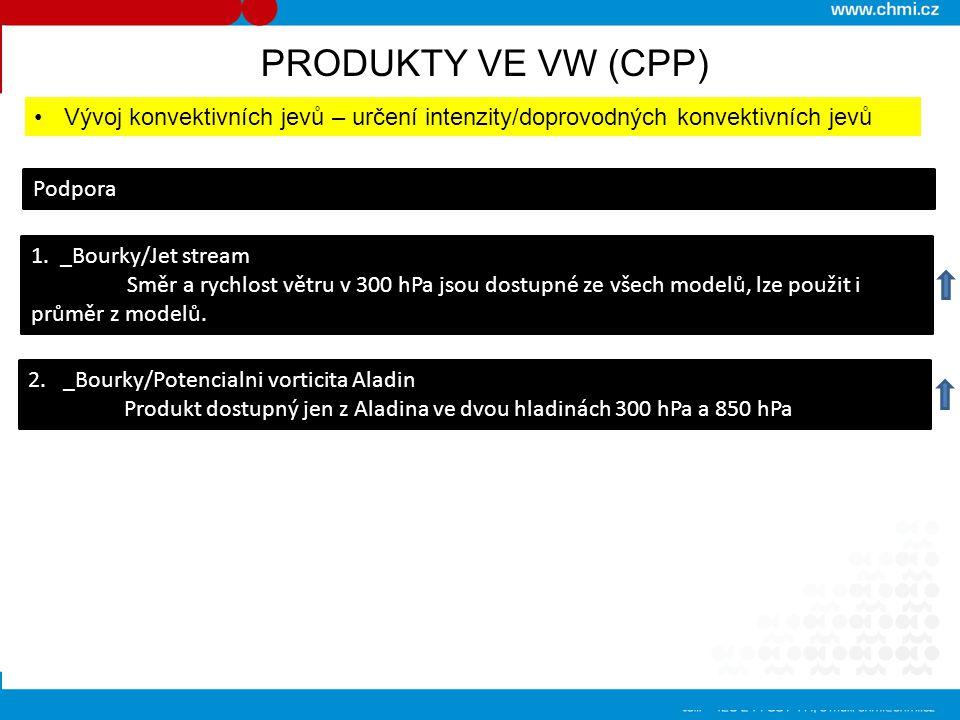 PRODUKTY VE VW (CPP) Předpověď konvektivních procesů (teplá polovina roku) Komplexní výstupy 1.