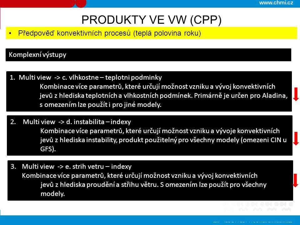 PRODUKTY VE VW (CPP) Předpověď konvektivních procesů (teplá polovina roku) Komplexní výstupy 1. Multi view -> c. vlhkostne – teplotni podminky Kombina