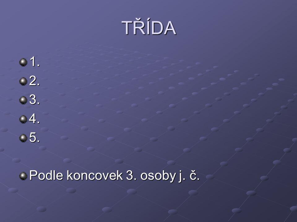 TŘÍDA 1.2.3.4.5. Podle koncovek 3. osoby j. č.