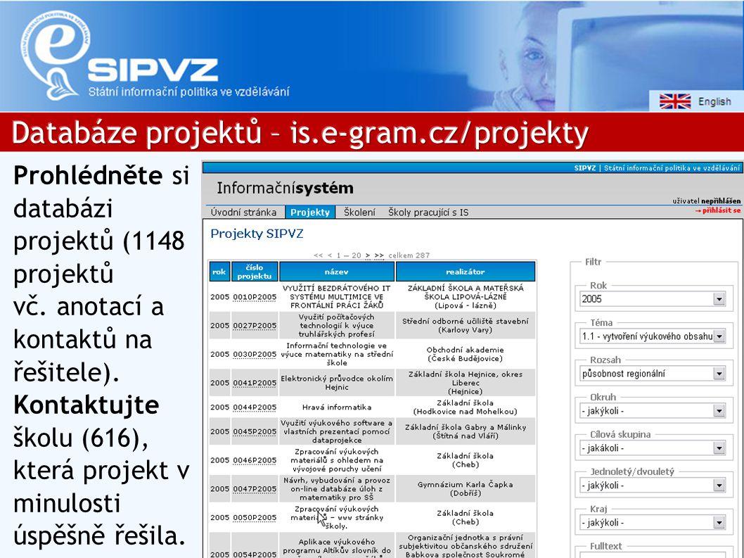 Prohlédněte si databázi projektů (1148 projektů vč.