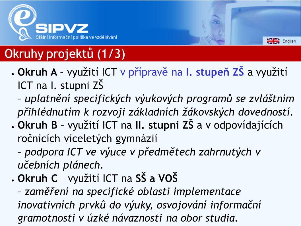 ● Okruh A – využití ICT v přípravě na I.stupeň ZŠ a využití ICT na I.
