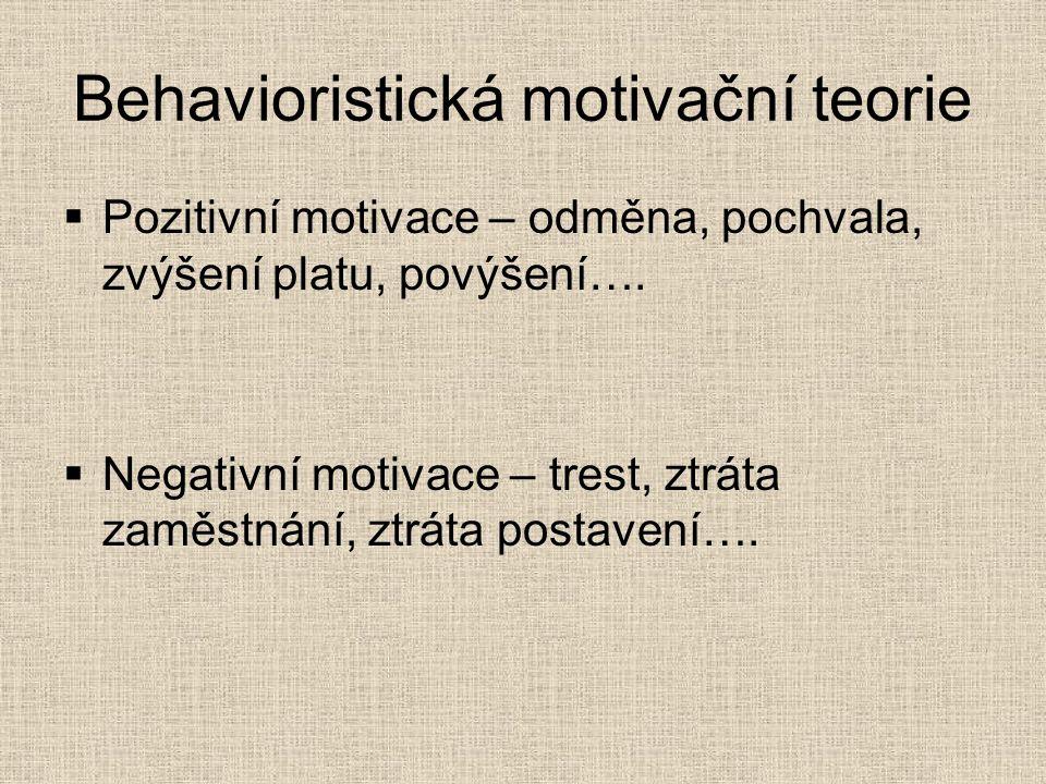 Behavioristická motivační teorie  Pozitivní motivace – odměna, pochvala, zvýšení platu, povýšení….  Negativní motivace – trest, ztráta zaměstnání, z