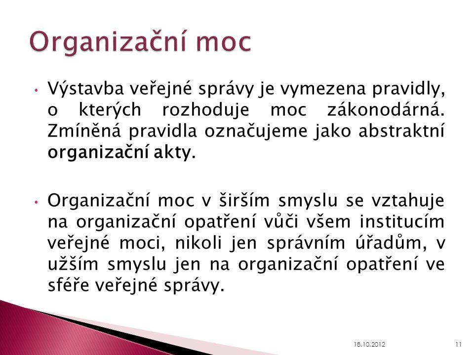 Výstavba veřejné správy je vymezena pravidly, o kterých rozhoduje moc zákonodárná. Zmíněná pravidla označujeme jako abstraktní organizační akty. Organ