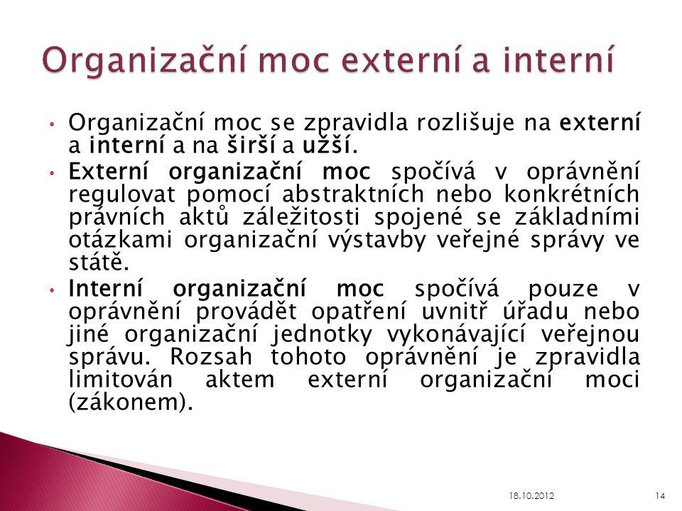 Organizační moc se zpravidla rozlišuje na externí a interní a na širší a užší. Externí organizační moc spočívá v oprávnění regulovat pomocí abstraktní