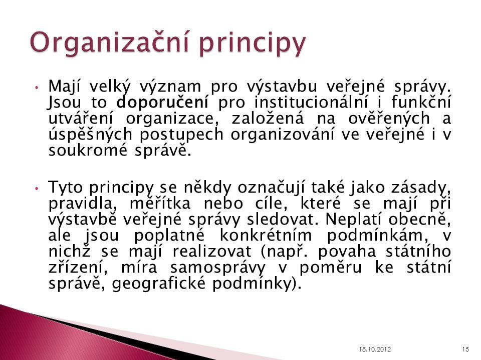 Mají velký význam pro výstavbu veřejné správy. Jsou to doporučení pro institucionální i funkční utváření organizace, založená na ověřených a úspěšných